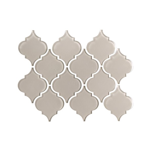 Water Jet Series 3 x 3 Glass Mosaic Tile in Glossy Icy Gray by WS Tiles