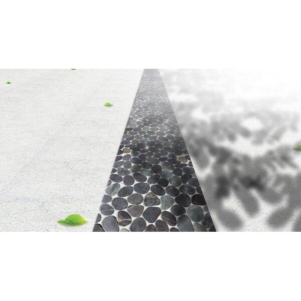 Flat Pebble Random Sized Natural Stone Mosaic Tile in Black