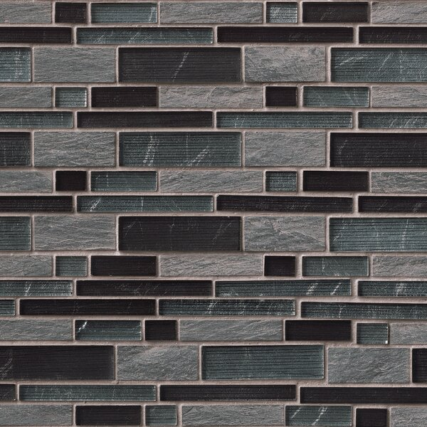 Perspective Blend Interlocking Pat Random Sized Glass/Stone Mosaic Tile in Gray