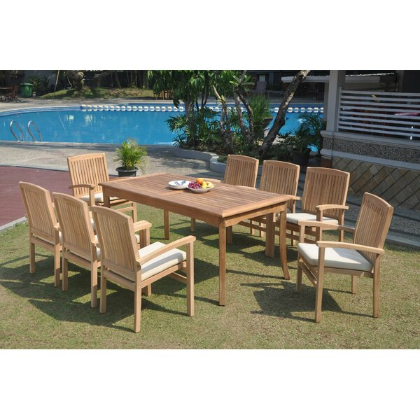 Pacific 9 Piece Teak Dining Set by Rosecliff Heights