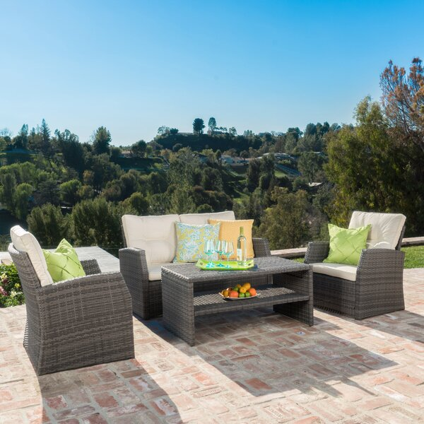 Pascua 4 Piece Rattan Sofa Set With Cushion by Rosecliff Heights