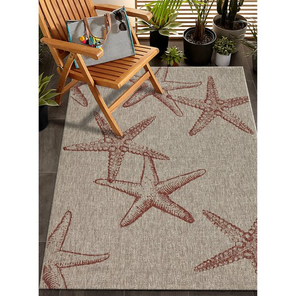 Christiane Red/Gray Indoor/Outdoor Area Rug by Highland Dunes