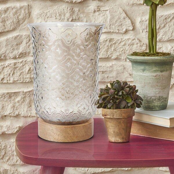 Wood Base Glass Lantern Hurricane by Fleur De Lis Living