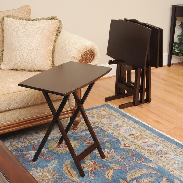 Bay Shore Curve Edge Tray Table Set with Stand (Set of 4) by Wildon Home ®