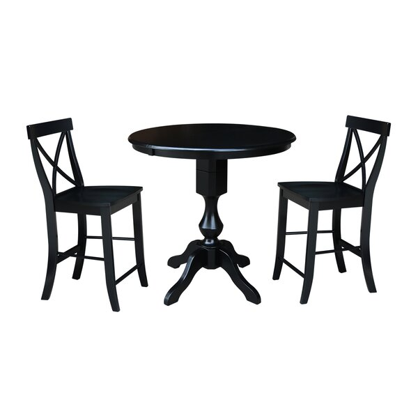 Suazo Extension Counter Height 3 Piece Pub Table Set by August Grove