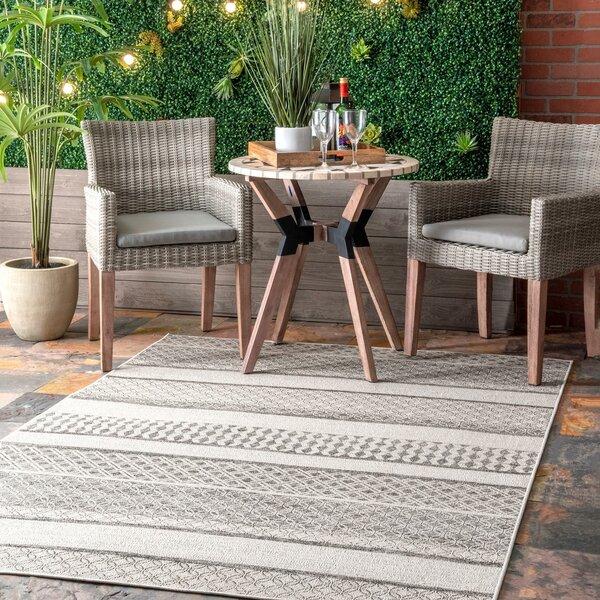 Spriggs Striped Gray Indoor/Outdoor Area Rug