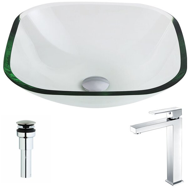 Cadenza Glass Square Vessel Bathroom Sink with Faucet by ANZZI
