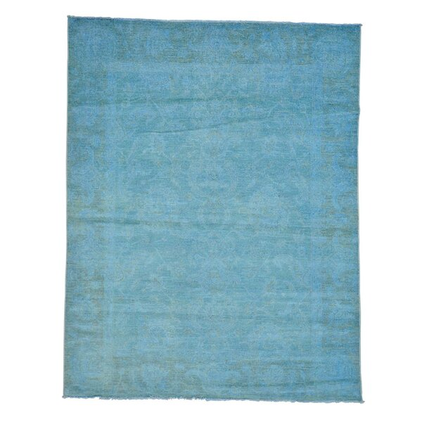 One-of-a-Kind Bagby Overdyed Hand-Knotted Sky Blue Area Rug by Isabelline