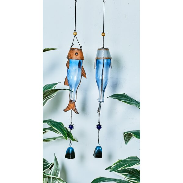 Metal Glass Wind Chime Set (Set of 2) by Cole & Grey