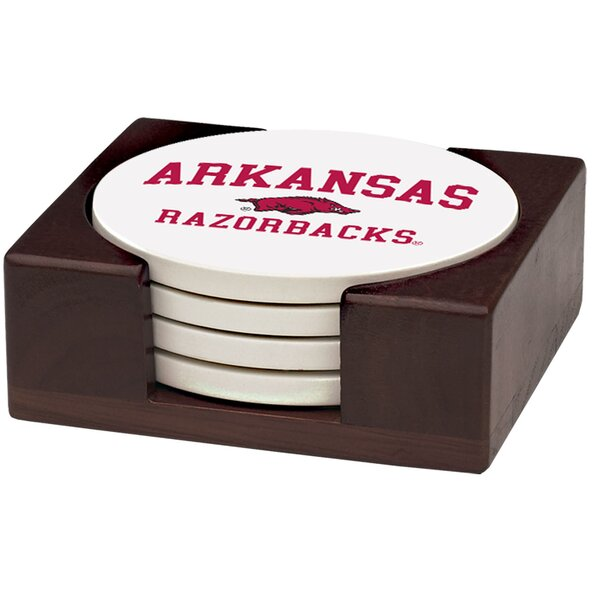 5 Piece University of Arkansas Wood Collegiate Coaster Gift Set by Thirstystone