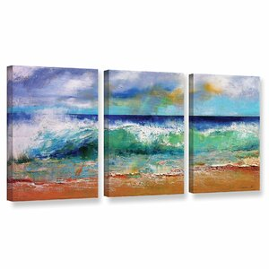 Ocean Waves 3 Piece Painting Print on Wrapped Canvas Set by Latitude Run