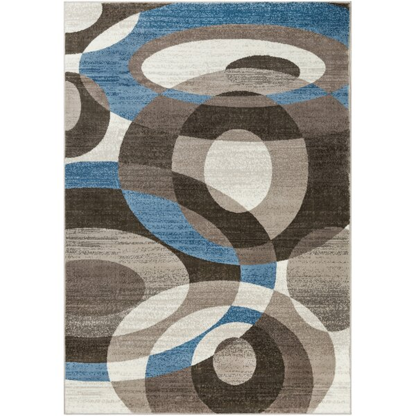 Kordell Abstract Sky Blue/Dark Blue Area Rug by Ebern Designs