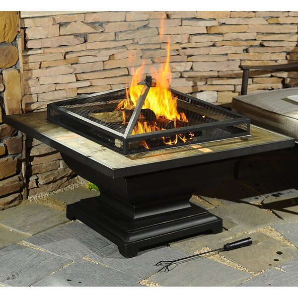 Trent Steel Wood Burning Fire Pit Table by Sunjoy