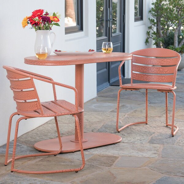 Micaela Outdoor Crackle 3 Piece Bistro Set by Bungalow Rose