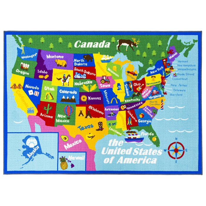 Swanigan Educational USA States Map Princess World Reversible Fun Kids  Green Area Rug