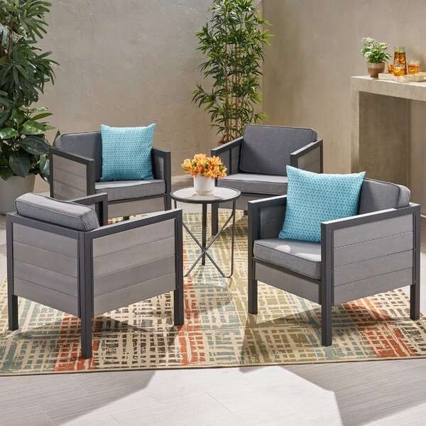 Patio Chair with Cushions (Set of 4) by Wrought Studio Wrought Studio