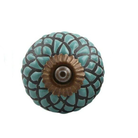 Handpainted Etched Ceramic Drawer Round Knob by MarktSq