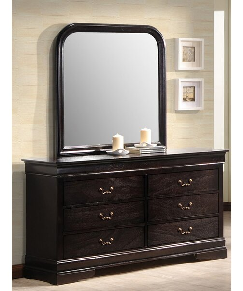 Sexton 6 Drawer Double Dresser with Mirror by Charlton Home