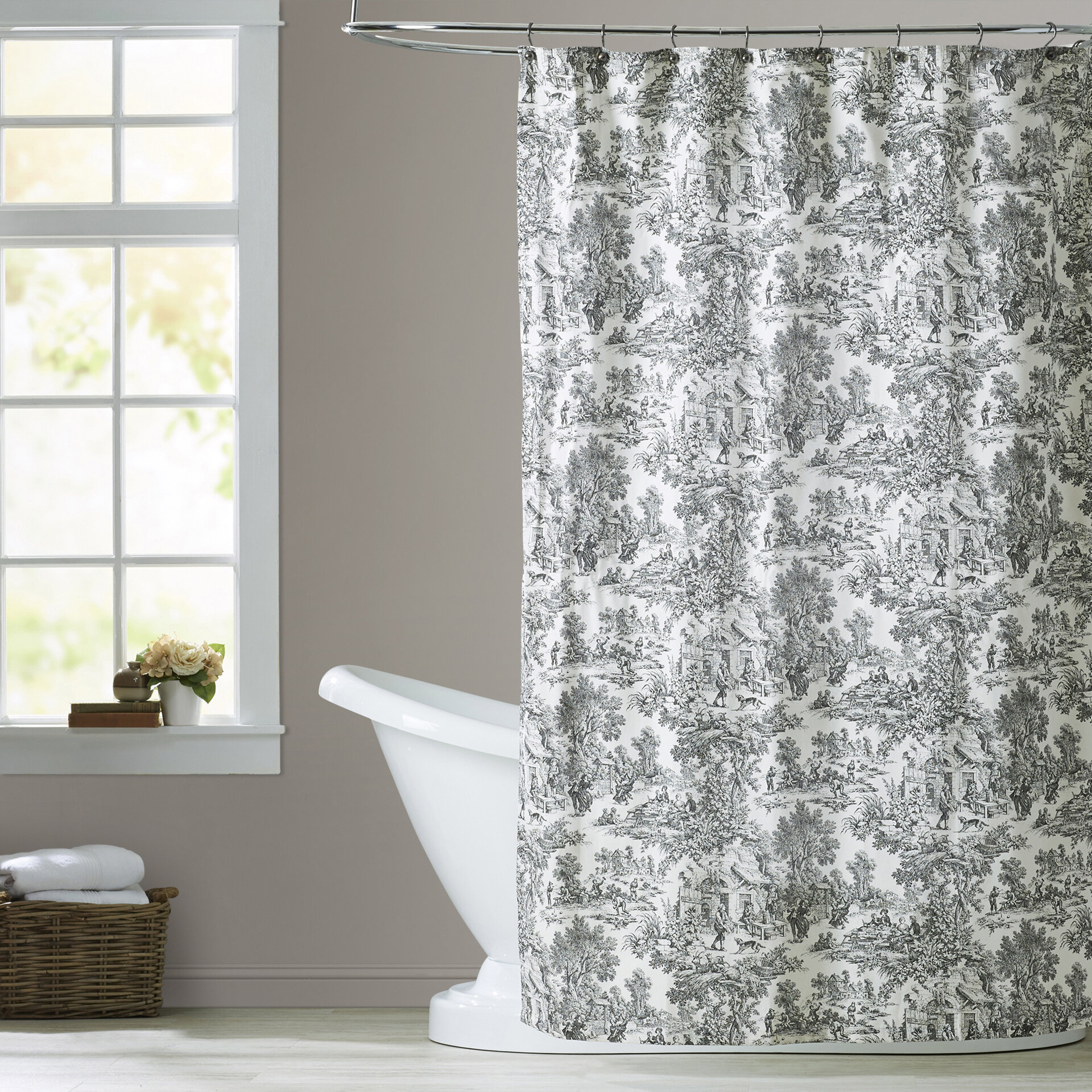 Lark Manor Gatineau Cotton Toile Shower Curtain & Reviews   Wayfair