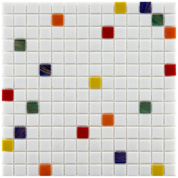 Fused 0.75 x 0.75 Glass Mosaic Tile in White/Red by EliteTile