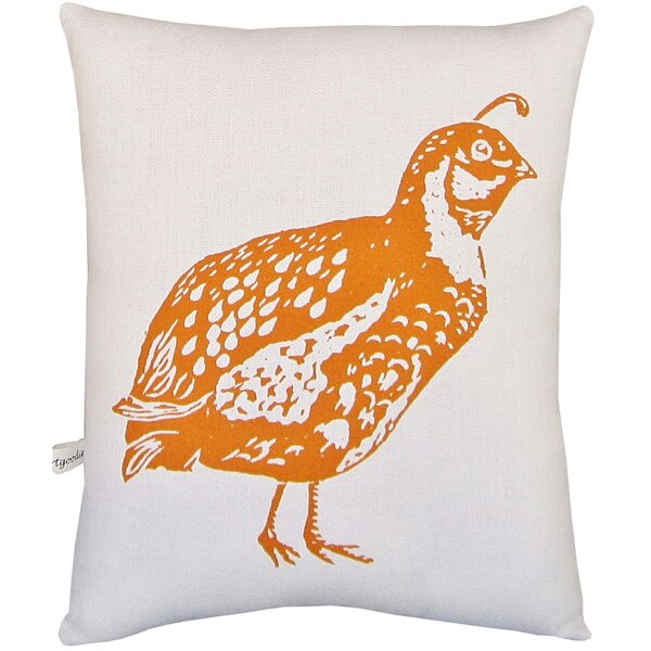Quail Block Print Squillow Accent Cotton Throw Pillow by Artgoodies