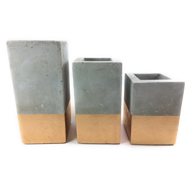 Bay Terrace 3-Piece Concrete Pot Planter Set (Set of 3) by Ivy Bronx