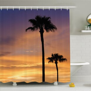Palm Tree Twilight in Tropical Environment Natural Beauty at Sunset Scene Shower Curtain Set