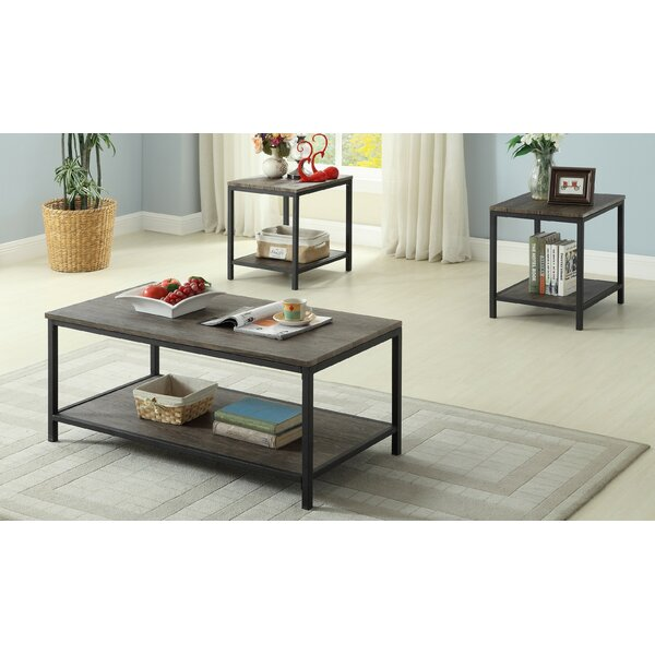 Kennesaw Distressed Wooden 3 Piece Coffee Table Set by 17 Stories
