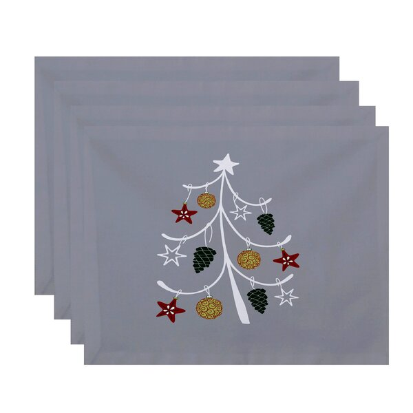 Winterview Pinecone Tree Geometric Print Placemat (Set of 4) by Rosecliff Heights