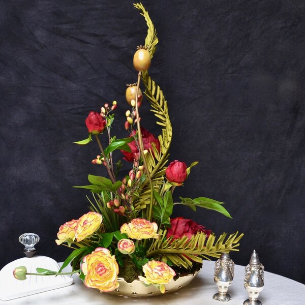Peonies & Coco Palm Centerpiece in Platter by Rosdorf Park