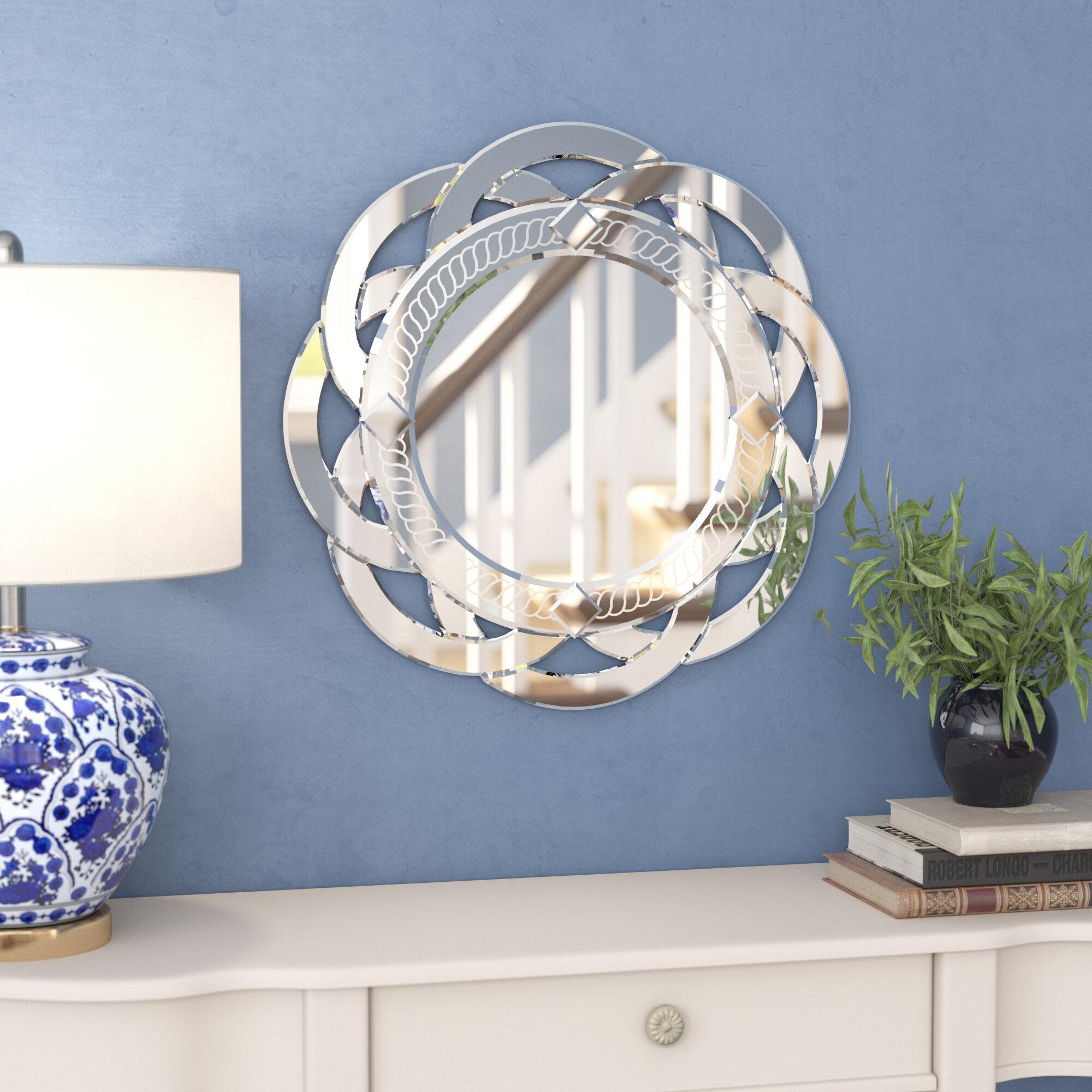 House Of Hampton Griswalde Flower Glass Wall Mirror Reviews Wayfair