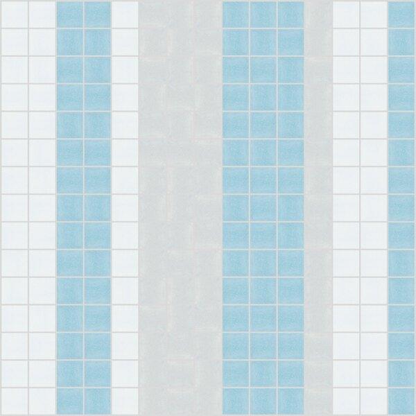 Urban Essentials Varied Stripes 3/4 x 3/4 Glass Glossy Mosaic in Breeze Blue by Mosaic Loft