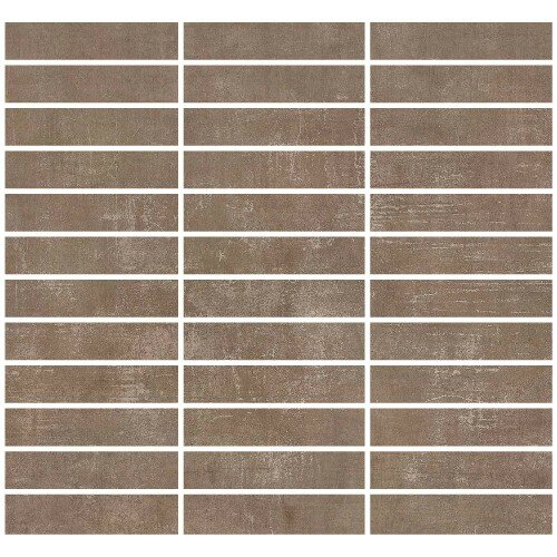 Loft 1 x 4 Porcelain Mosaic Tile in Bronzo by Madrid Ceramics