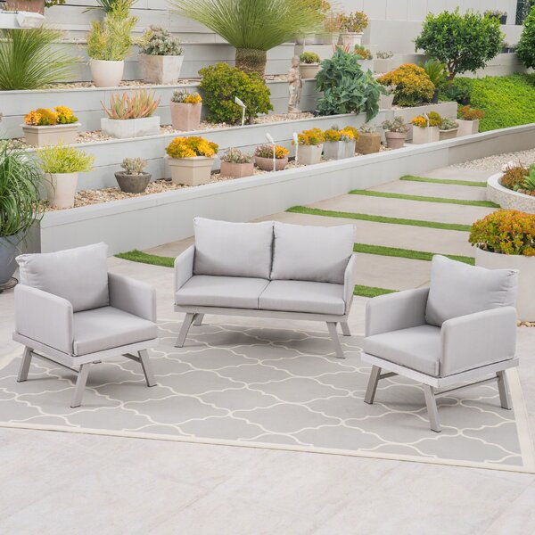 Alexander Outdoor Modern 3 Piece Sofa Seating Group by Wrought Studio