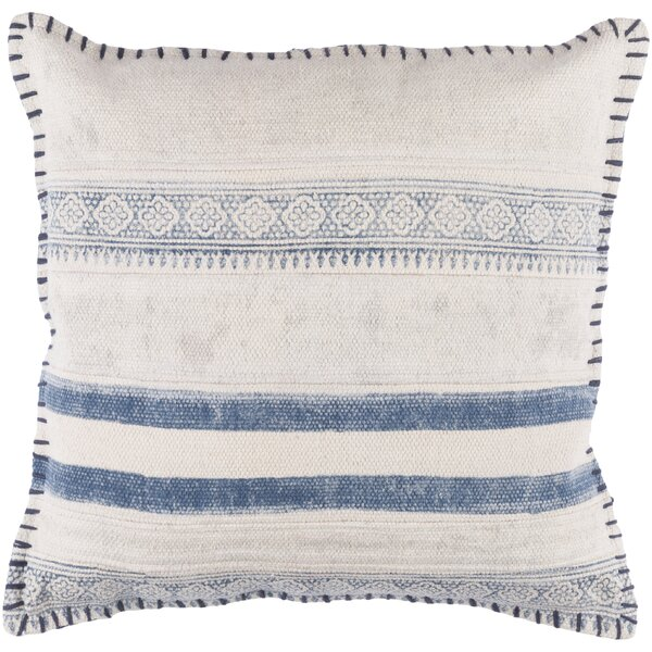 Friedman Striped Square Cotton Throw Pillow by Mistana