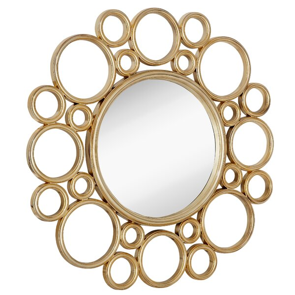 Unique Circular Polished Gold Decorative Framed Beveled Glass Wall Mirror by Majestic Mirror