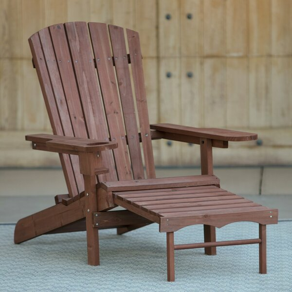 Kaelynn Muskoka Wood Folding Adirondack Chair with Ottoman by Highland Dunes Highland Dunes