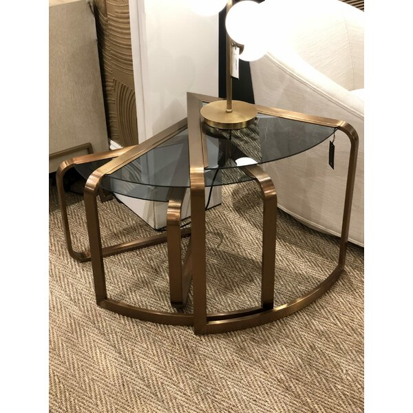 Gilmore Glass Top Abstract End Table