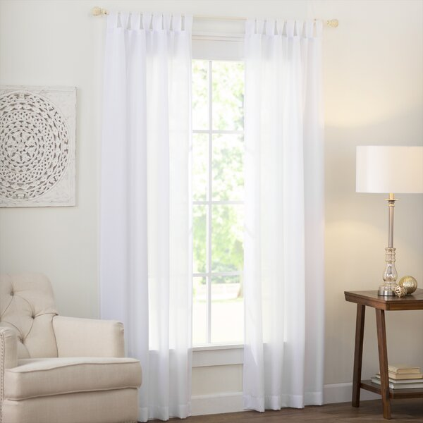 Wayfair Basics Solid Semi-Sheer Tab Top Single Curtain Panel by Wayfair Basics™