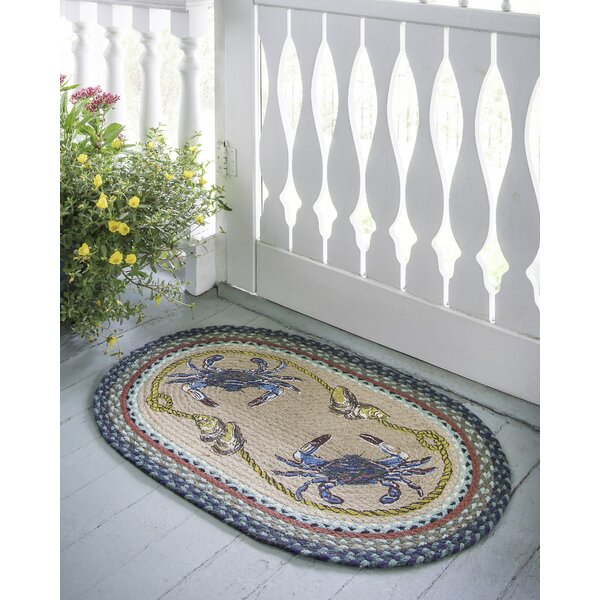 Blue Crab Printed Area Rug by Earth Rugs