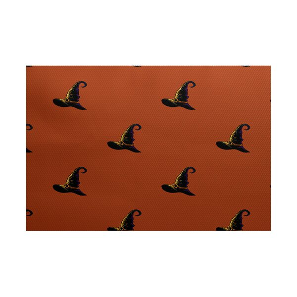 Witches Brew Holiday Print Orange Indoor/Outdoor Area Rug by The Holiday Aisle
