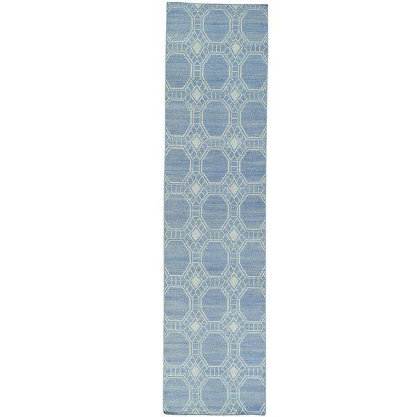 One-of-a-Kind Flat Weave Reversible Durie Kilim Hand-Knotted Sky Blue Area Rug by Bungalow Rose