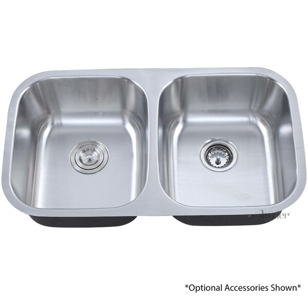 32.25 Undermount 50/50 Equal Double Bowl Stainless Steel Kitchen Sink by Luxier