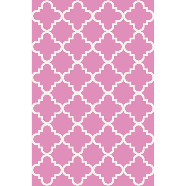 Hinman Moraccan Trellis Rubber Backed Pink Area Rug by Winston Porter