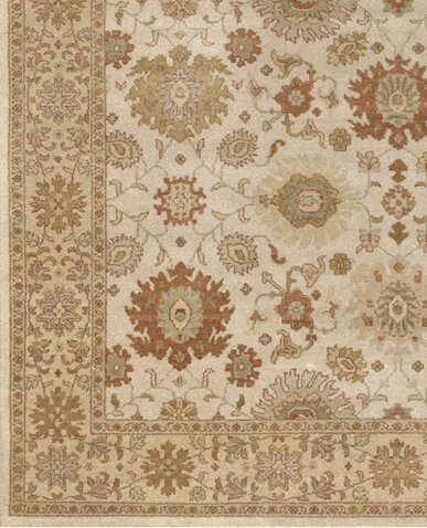 Zambrano Hand-Knotted Wool White Area Rug