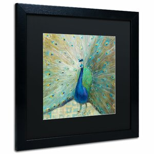 'Blue Peacock on Gold' by Danhui Nai Framed Painting Print by Trademark Fine Art