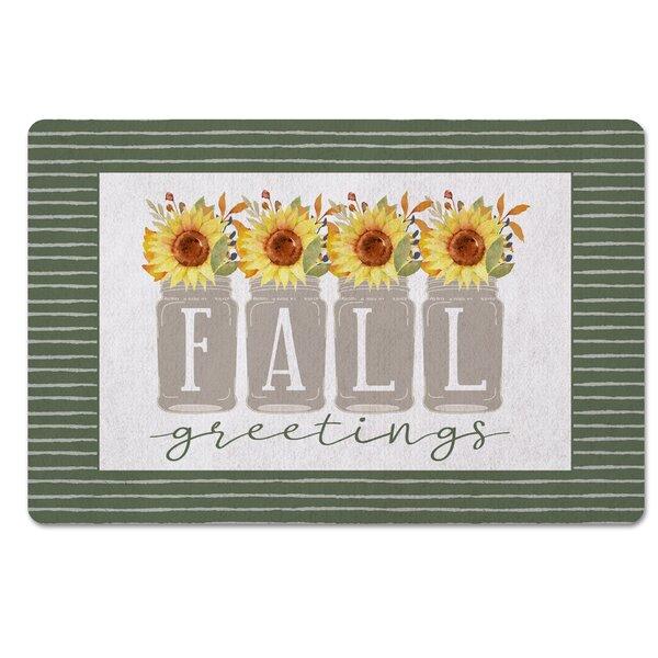 Neo Fall Greetings Sunflower Mason Jar Kitchen Mat