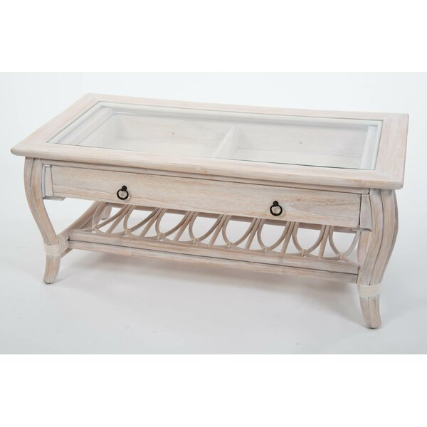 Presley Glass Top Coffee Table With Drawer By Bay Isle Home.