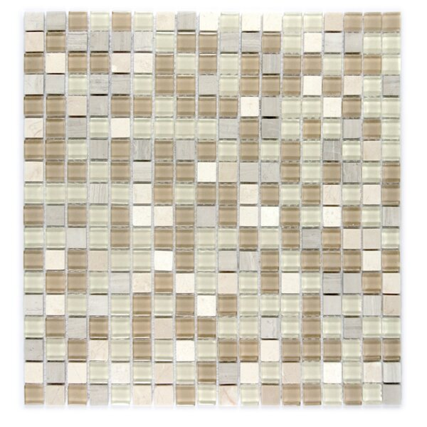 Crystal Stone 0.63 x 0.63 Glass Mosaic Tile in Beige Mix by Abolos
