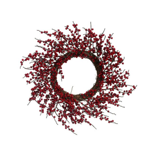 Artificial Red Berry Twig Christmas Wreath by Tori Home